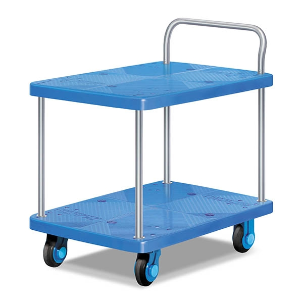 Double-layer single armrest plastic trolley