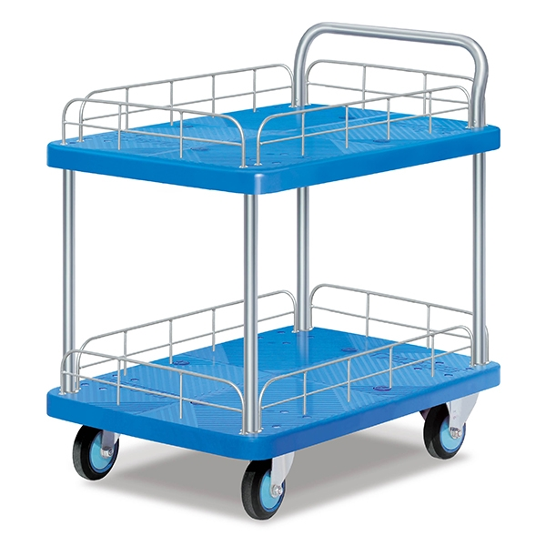 Double-layer single armrest rail trolley