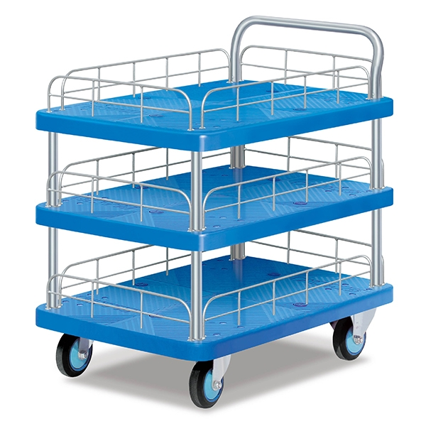 Three-layer single armrest guardrail trolley